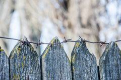 Barbed wire fencing. Barbed wire fences, old gaol, electric fence Royalty Free Stock Photo