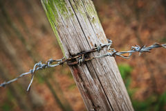 Barbed Wire Fencing with Post Fulle Frame Angled View Stock Photography