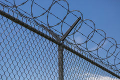 Barbed Wire Fencing. Security Fencing At the Vancouver International Airport stock photos
