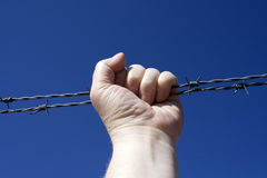 Barbed wire fist Royalty Free Stock Photo
