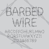 Barbed Wire Font and Numbers Stock Image