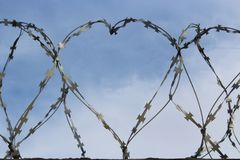 Barbed wire in the form of a heart royalty free stock photo