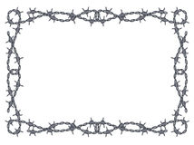 Barbed wire frame vector. Vector barbed wire frame pattern isolated on white Stock Photography