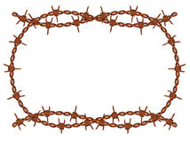 Barbed wire frame vector. Vector old rusty barbed wire frame pattern isolated Royalty Free Stock Image
