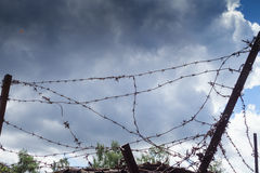 Barbed wire. Gate to freedom Royalty Free Stock Images