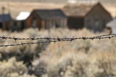 Barbed wire ghost town royalty free stock photos
