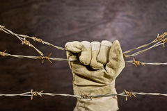 Barbed wire with hand Stock Image