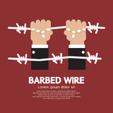 Barbed Wire With Hand Royalty Free Stock Images