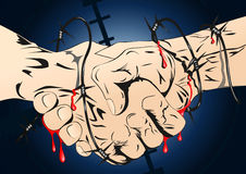 Barbed wire handshaking. Illustration background vector illustration