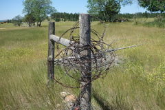 Barbed wire on a hitching post Stock Images