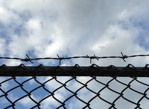 Barbed wire mesh fence against blue sky Stock Image