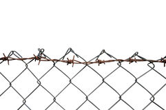 Barbed Wire Mesh Fence, Rust Barb Detail, Isolated Horizontal Rusty Barbwire, Old Aged Weathered Rusted Grey Iron, Grungy Large Stock Image