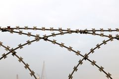 Barbed Wire Mesh. For Security Stock Image