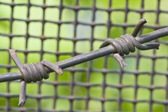 Barbed wire and metal lattice Stock Images