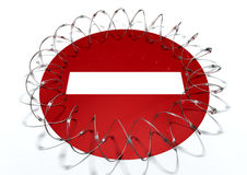 Barbed Wire No Entry Concept Stock Images