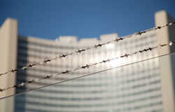 Barbed wire opposite UN building Royalty Free Stock Image