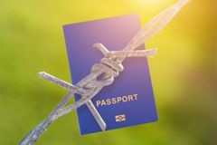 Barbed wire with passport. On green blurred background Stock Images