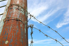 Barbed wire on the pole against the blue sky Stock Image