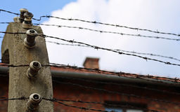 Barbed wire and the prison Stock Photos