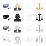 Barbed wire in prison, video surveillance, judge s appearance, scales of justice. Prison set collection icons in cartoon Royalty Free Stock Images