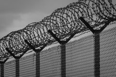 Barbed wire - restricted area. Black and white photo Royalty Free Stock Photos