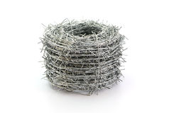Barbed wire roll  on white background Royalty Free Stock Image