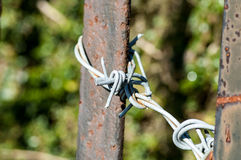 Barbed wire and rusty post Royalty Free Stock Images