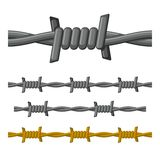 Barbed Wire Seamless Set Vector Stock Photo