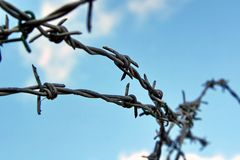 Barbed Wire Security Fence Royalty Free Stock Images