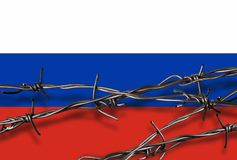 Flag of Russia with barbed wire Royalty Free Stock Photography