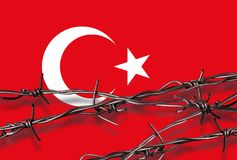 Flag of Turkey with barbed wire Royalty Free Stock Photography