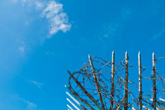 The barbed wire and sharpen iron with blue sky Stock Image