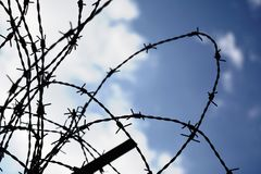 Barbed wire sillhouetted against the sky stock images