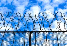 Barbed wire on the sky background. Barbed wire against the sky background. Concept of prison and unfreedom Stock Photography