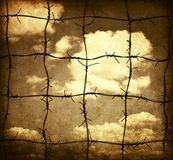 Barbed wire and sky Royalty Free Stock Image