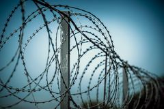 Barbed wire spiral wound on a metal fence against a dark background Stock Photo