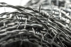 Barbed wire spirals with selective focus. For blur effects royalty free stock images