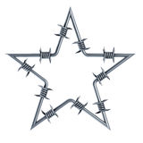 Barbed wire star-shaped. 3d rendering Stock Photos