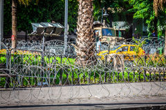 Barbed wire on the streets of capital on Tunis city, Tunisia, Af Royalty Free Stock Photography