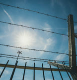 Barbed wire and sun Royalty Free Stock Images