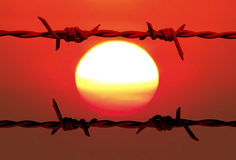 Barbed wire and sun. Silhouettes old barbed wire with blurry colorful of sun and sky background Stock Photos