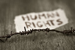 Barbed wire and text human rights Royalty Free Stock Photos