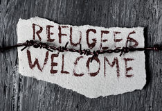 Barbed wire and text refugees welcome Royalty Free Stock Images
