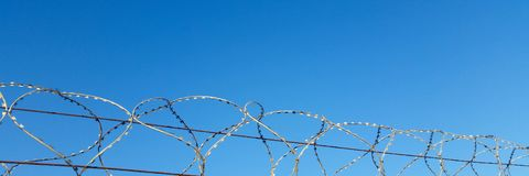Barbed wire and thorns on the background of blue sky stock photo