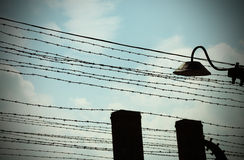 Barbed wire to demarcate the prison camp Stock Photo