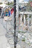 Barbed wire in Tunis stock image