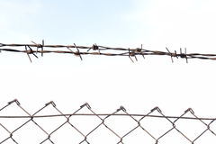 The barbed wire in two rows as protection against unauthorized entry into private territory royalty free stock image