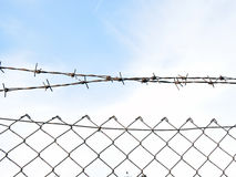The barbed wire in two rows as protection against unauthorized entry into private territory stock photography