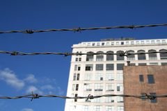 Barbed Wire Urban City stock photos