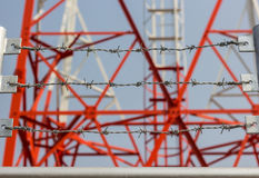 Barbed wire. Use protect communication towers Royalty Free Stock Photography